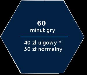 60 minut gry 40 zl ulgowy 50 zl normalny