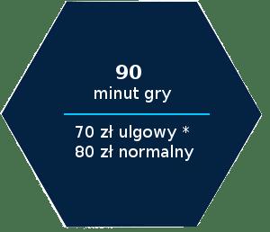 90 minut gry 70 zl ulgowy 80 zl normalny